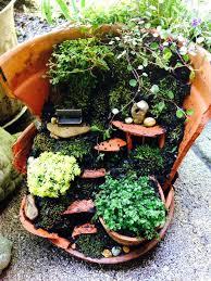 flower pot fairy garden broken