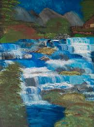 Cabin Falls Painting by Jeannette Smith
