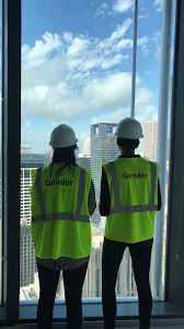 hannah monroe left is interning at gensler in houston texas this summer here she takes in a view of the city from a project site on the 38th floor of