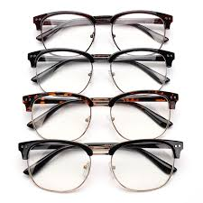 uni men women half frame metal eyegles clear lens plain gles vision eyewear