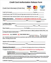 Credit Card Release Form Sample Credit Release Form 6 Examples In Word Pdf