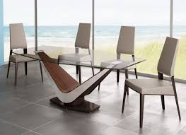 contemporary glass top dining table design feature white brown wooden based and round tempered glass table top also letter v shaped plywood veneered table