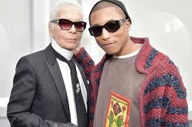 chanel x pharrell adidas. karl lagerfeld and pharrell williams backstage chanel x adidas n