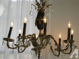 vintage french empire brass crystal tole chandelier