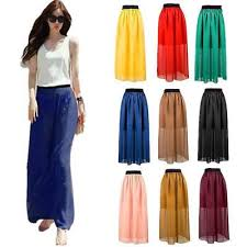 Pleated Women Elastic Waist <b>Double Layer</b> Chiffon <b>1 pcs</b> Skirt Retro ...