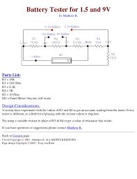 electronics schematic circuits for the hobbyist battery tester for