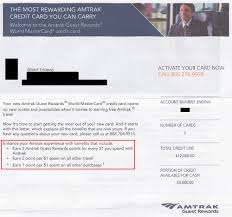 the credit card provides a wele gift anniversary gift and a 5 rebate on redeemed amtrak guest rewards points