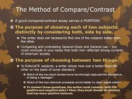 compare contrast unit english ii ms petrauskas fall ppt  the method of compare contrast  a good compare contrast essay serves a purpose