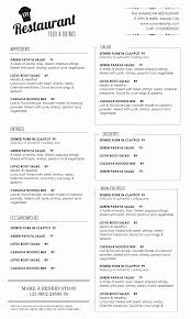 Free Downloadable Restaurant Menu Templates Luxury Free