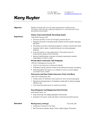 Music Performance Resume Template Objective Industry Cover Letter