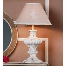 decor mart table lamp wood white distressed colour with embroidered linen natural colour shade
