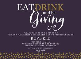 Auction Invitations Fundraiser Invitation Eat Drink And Be Giving Fundraising Event