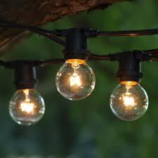 picture of 25 g30 globe light string set with clear bulbs on white wire com modern outdoor