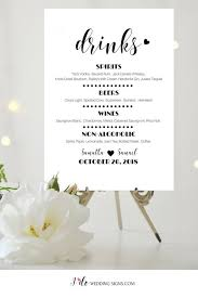wedding drink menu. Bar Menu Drinks Menu Wedding Drink Menu Wedding Bar Menu Etsy