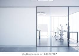 glass door office. Modern Simple Office Interior With Glass Doors, Blank Wall Copy Space, City View Door