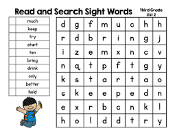3rd Grade Sight Words Dolch Read And Search Sight Words Dolch Third Grade Words Word Work Rti More