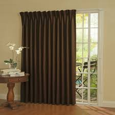 single patio doors. Single Curtains Panel From Dark Chocolate Thick Drapery Covering White Sliding Patio Doors On Brown Wooden Floor R