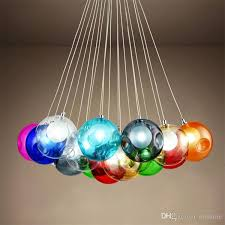 colorful glass ball g4 led chandelier lamp 3 31heads of glass spheres modern light color bubble led crystal chandeliers for room living kitchen chandeliers
