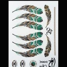 2 Listy Gold Choker Dočasné Tetování Body Art Rukávové Rameno Flash Tattoo Stickers 21 15 Cm Feather At Vova