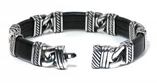 men s david yurman madison link sterling silver leather bracelet 7 5
