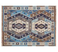 gianna recycled yarn kilim indoor outdoor rug indigo