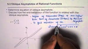 find oblique asymptote and examine end behaviour of rational function