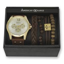 men s gold and white dial watch and bracelet set sears american exchange men s gold and white dial watch and bracelet set
