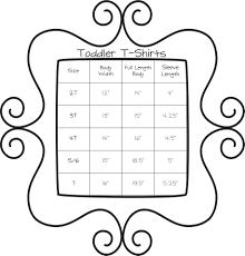 Monogram Size Chart Toddler T Shirt Sizing Chart Monogram Express