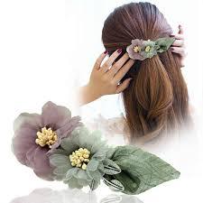 Korean Adult Head Flower <b>Hair Spring Clip Hairgrip</b> Fabric Elegant ...
