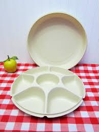 2 Piece Retro Kitchen Retro 2 Piece Large Plastic Tupperware Vegetable Dip Snack Serving