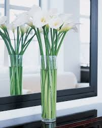 White Flowers : Calla lilies arranged in a fourteen-inch glass vase are a  serenely elegant decoration for the shower, enhancing the airy feeling.