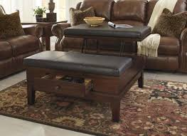 leather coffee table oval