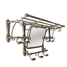 Coat Hook Rack With Mirror vintage railway carriage luggage rack with mirror and 100 coat hooks 49