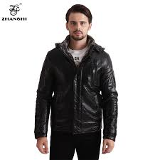 mens leather leather jacket winter hooded washed european pu coats artificial fur lining