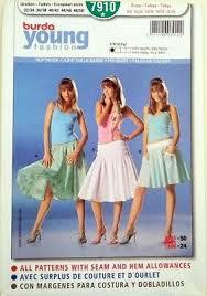 Uncut Burda 7910 Elasticated Drop Waist Summer Skirts Sewing