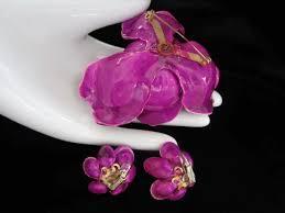 Paper Mache Flower Magenta Paper Mache Flower Brooch And Earring Set Sarafinas