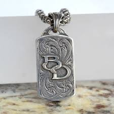 rockin out jewelry customized dog brand initials necklace pendant sterling silver personalized necklace western jewelry