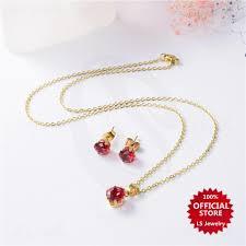 lsjewelry birthstone 2in1 jewelry set stud earrings necklace bs 803