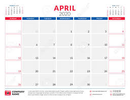April 2020 Template April 2020 Calendar Planner Stationery Design Template Vector