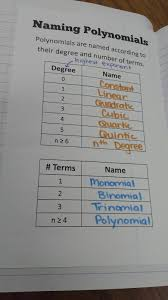 Classifying Polynomials By Degree And Number Of Terms Chart Math Love What In The World Is A Polynomial