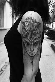 Cool Sketch Style Black Ink Upper Arm Tattoo Of Mysterious Woman