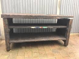 Antique Kitchen Work Tables Vintage Antique Solid Wood Wooden Industrial Work Bench Shop