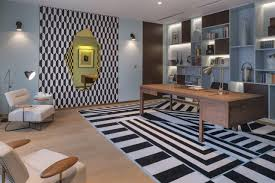 Contemporary art furniture Wood Contemporary Art Deco Design Striking Home Office With Geometric Rug And Wallpaper Detail Nonagon The Interior Editor Frenchinspired Contemporary Art Deco Design Nonagonstyle