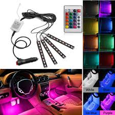 Car Seat With Lights Us 6 29 46 Off 4pcs Car Interior Light Rgb Led Strip Light Led Strip Lights Colors Car Styling Decorative Atmosphere Lamps Car With Remote On