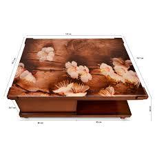 printed glass top wooden center table glass center table pharneechar furniture delhi ncr