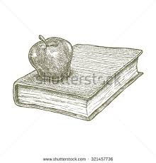apple on book drawing concept ink ilration of an apple on a book