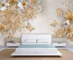 3D Golden and White Flowers Wallpaper ...