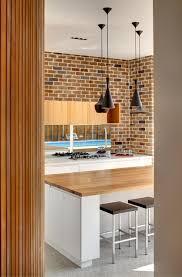 Modern Interior Design:Eclectic Kitchen Design Near Brick Wall Inside  Castlecrag Residence Applying Black Pendant