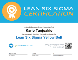 Goleansixsigma Com Yellow Belt Certificate Example Lean Six
