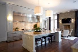 best kitchen islands with drum pendant lighting and